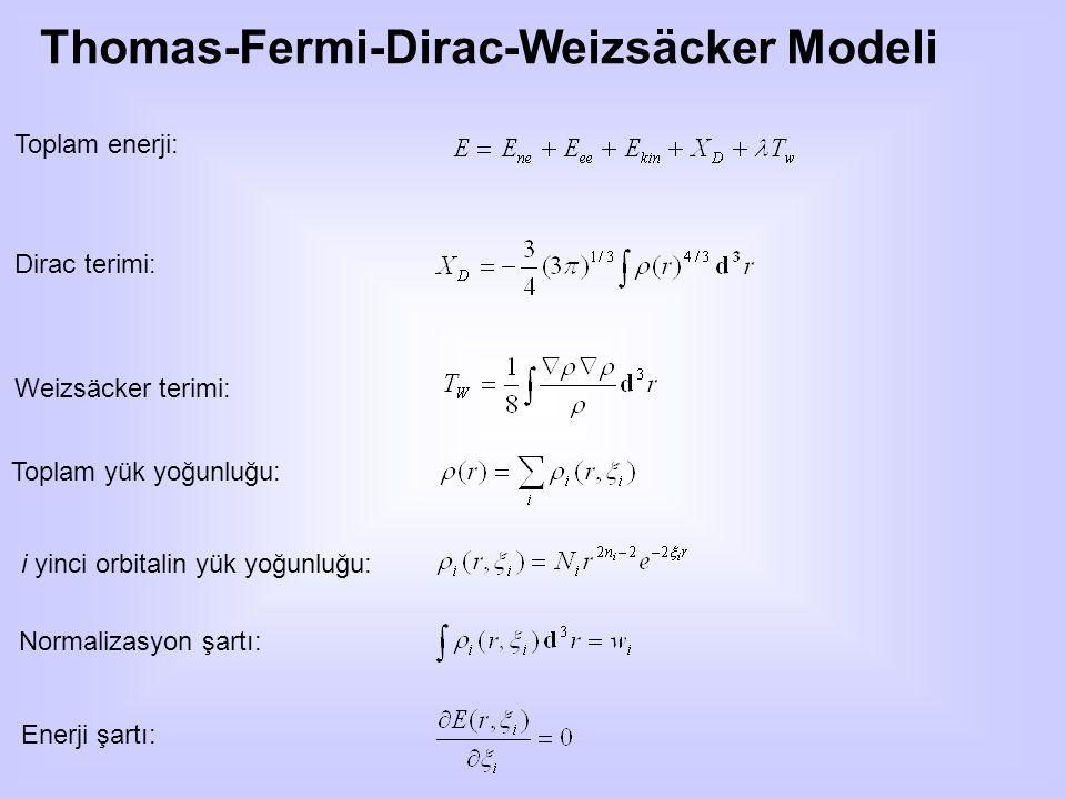 Thomas-Fermi-Dirac-Weizsäcker Modeli Toplam enerji: Dirac terimi: Weizsäcker terimi: Toplam yük yoğunluğu: i yinci orbitalin yük yoğunluğu: Normalizasyon şartı: Enerji şartı: