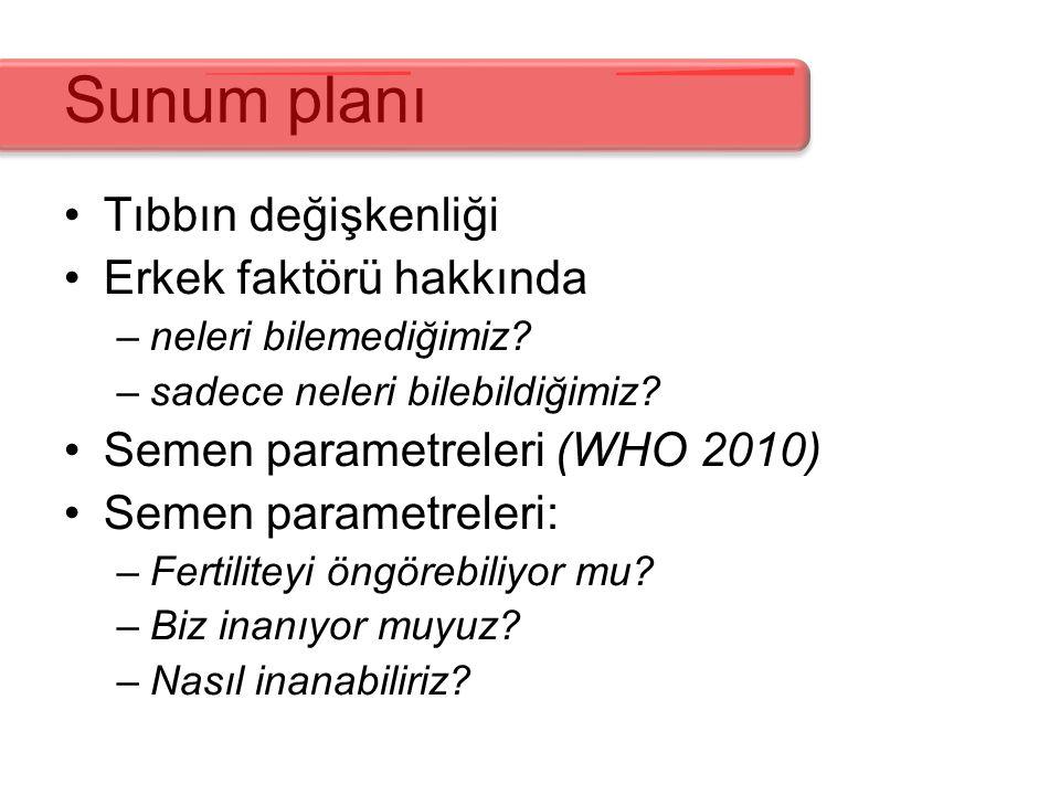 Sunum planı Tıbbın değişkenliği Erkek faktörü hakkında –neleri bilemediğimiz? –sadece neleri bilebildiğimiz? Semen parametreleri (WHO 2010) Semen para