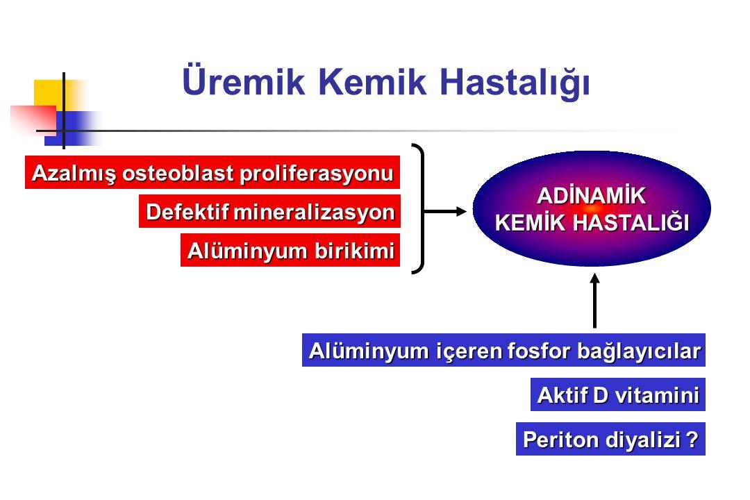 Üremik Kemik Hastalığı Azalmış osteoblast proliferasyonu Defektif mineralizasyon Alüminyum birikimi ADİNAMİK KEMİK HASTALIĞI Alüminyum içeren fosfor b