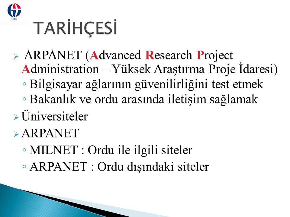  ARPANET (Advanced Research Project Administration – Yüksek Araştırma Proje İdaresi) ◦ Bilgisayar ağlarının güvenilirliğini test etmek ◦ Bakanlık ve