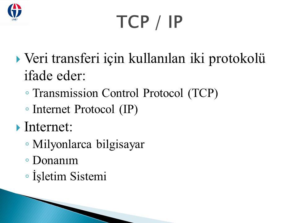 TCP / IP  Veri transferi için kullanılan iki protokolü ifade eder: ◦ Transmission Control Protocol (TCP) ◦ Internet Protocol (IP)  Internet: ◦ Milyo
