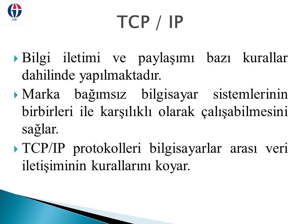 TCP / IP  Bilgi iletimi ve paylaşımı bazı kurallar dahilinde yapılmaktadır.  Marka bağımsız bilgisayar sistemlerinin birbirleri ile karşılıklı olara