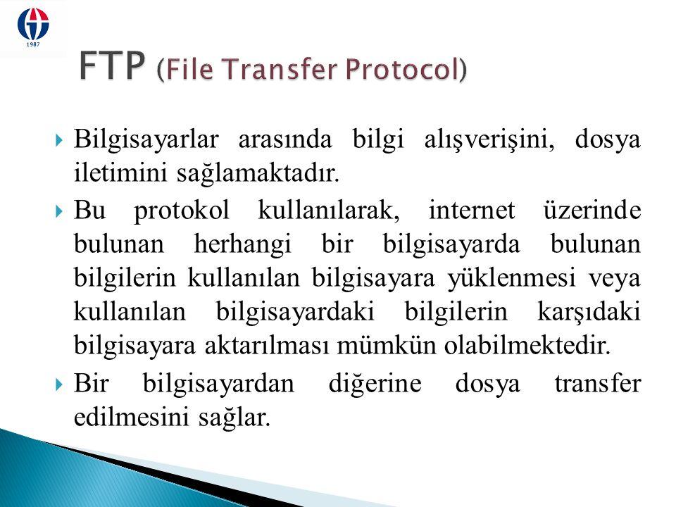  Bilgisayarlar arasında bilgi alışverişini, dosya iletimini sağlamaktadır.  Bu protokol kullanılarak, internet üzerinde bulunan herhangi bir bilgisa