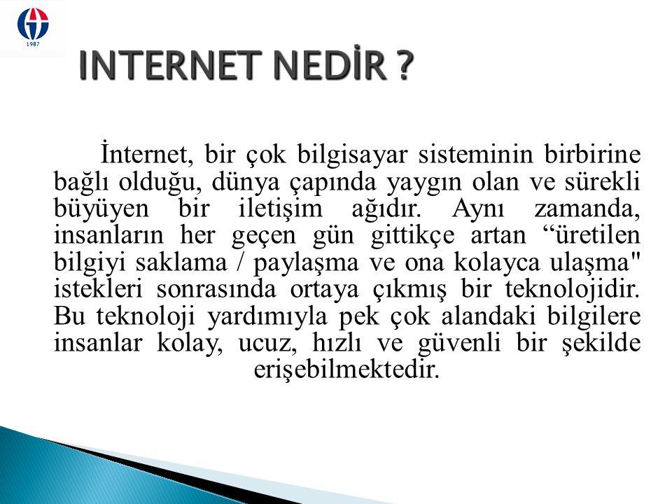  Ağların ağı  Bağımsız, ayrı ayrı yönetilen ağlar  Dünyada yaklaşık 50 milyon bilgisayar INTERNET'e bağlı  300 milyonu aşkın kullanıcı  Internet'teki belge sayısı 200 milyon civarında Özgürlük Alış Veriş Bilgi İletişim Hız Dönüşüm
