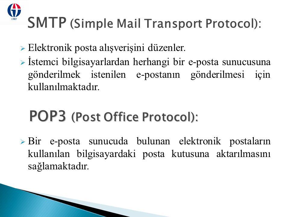 SMTP (Simple Mail Transport Protocol):  Elektronik posta alışverişini düzenler.  İstemci bilgisayarlardan herhangi bir e-posta sunucusuna gönderilme