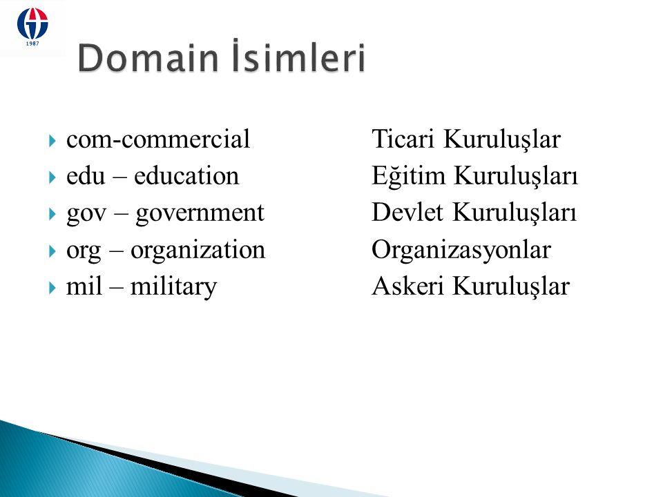  com-commercialTicari Kuruluşlar  edu – educationEğitim Kuruluşları  gov – governmentDevlet Kuruluşları  org – organizationOrganizasyonlar  mil –