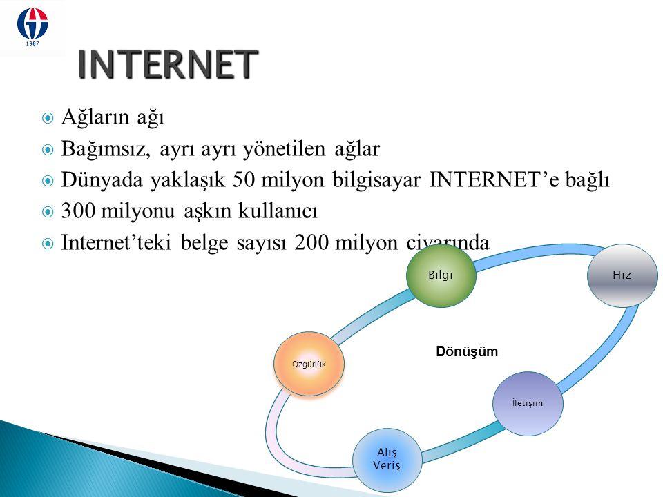 FizikselMantıksalUygulama Ağ Arayüz Kartı (NIC) Protokoller TCP / IP Bilgi Çözümleyiciler HTML, FTP