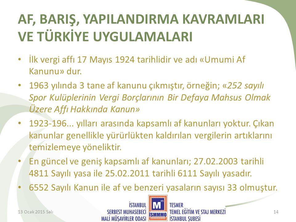 AF, BARIŞ, YAPILANDIRMA KAVRAMLARI VE TÜRKİYE UYGULAMALARI İlk vergi affı 17 Mayıs 1924 tarihlidir ve adı «Umumi Af Kanunu» dur.