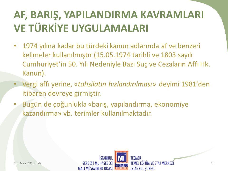AF, BARIŞ, YAPILANDIRMA KAVRAMLARI VE TÜRKİYE UYGULAMALARI 1974 yılına kadar bu türdeki kanun adlarında af ve benzeri kelimeler kullanılmıştır (15.05.1974 tarihli ve 1803 sayılı Cumhuriyet'in 50.
