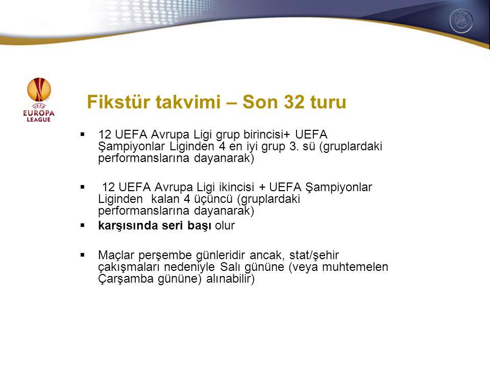 General Secretaries/CEOs meeting 28-29 October 2008 Fikstür takvimi – Son 32 turu  12 UEFA Avrupa Ligi grup birincisi+ UEFA Şampiyonlar Liginden 4 en