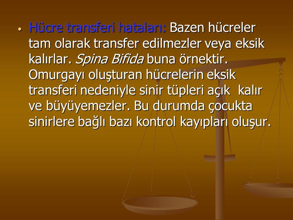 Hücre transferi hataları: Bazen hücreler tam olarak transfer edilmezler veya eksik kalırlar. Spina Bifida buna örnektir. Omurgayı oluşturan hücrelerin