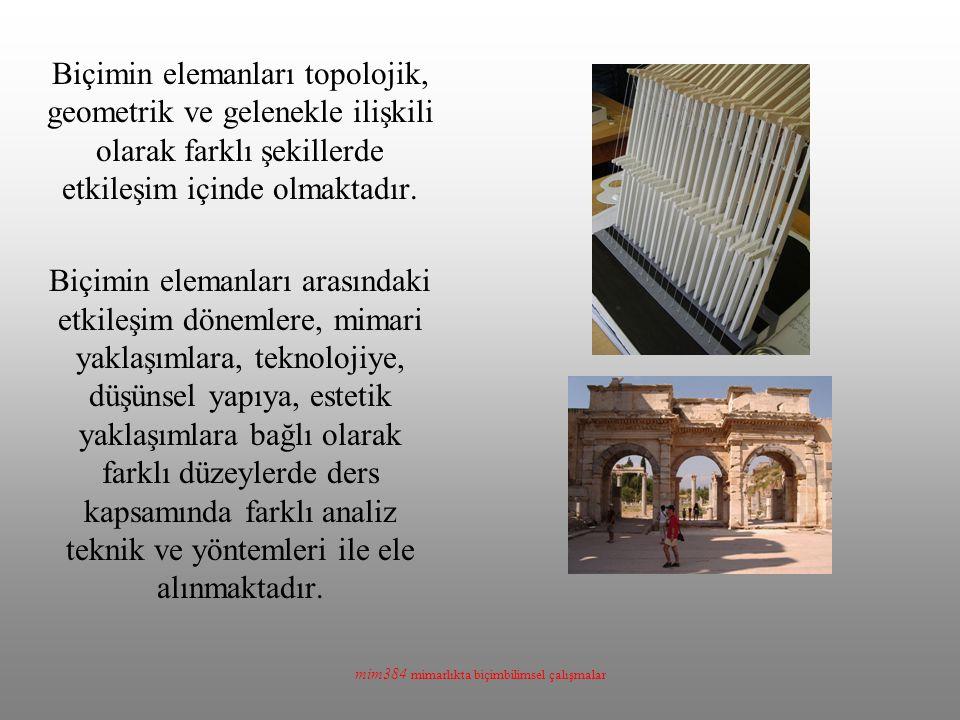 mim384 mimarlıkta biçimbilimsel çalışmalar Biçimin elemanları topolojik, geometrik ve gelenekle ilişkili olarak farklı şekillerde etkileşim içinde olm