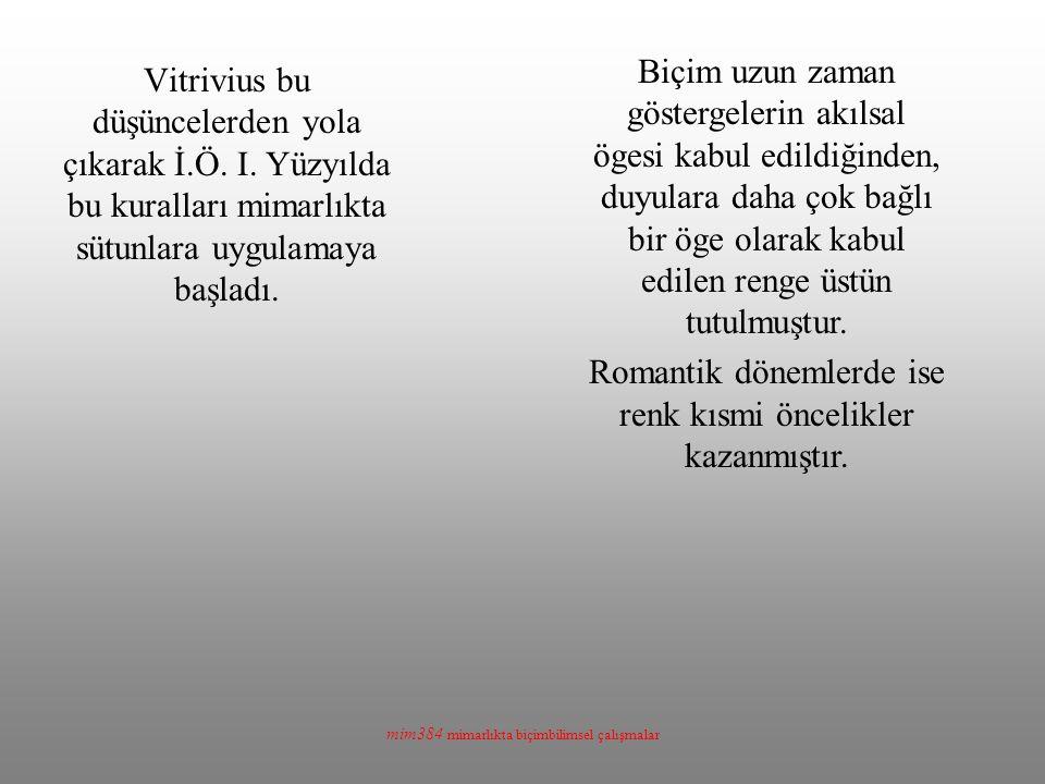 mim384 mimarlıkta biçimbilimsel çalışmalar Vitrivius bu düşüncelerden yola çıkarak İ.Ö. I. Yüzyılda bu kuralları mimarlıkta sütunlara uygulamaya başla