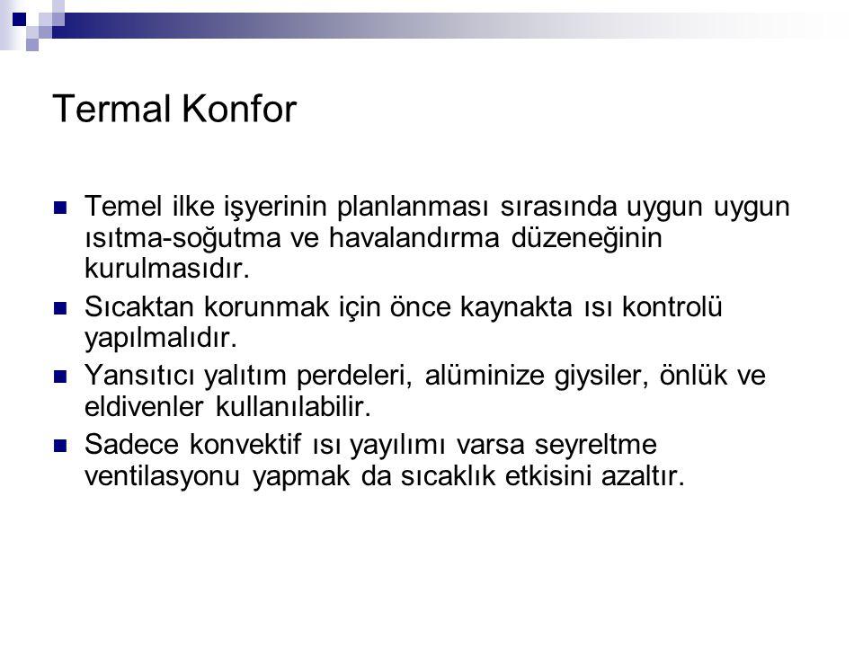 Termal Konfor Temel ilke işyerinin planlanması sırasında uygun uygun ısıtma-soğutma ve havalandırma düzeneğinin kurulmasıdır.
