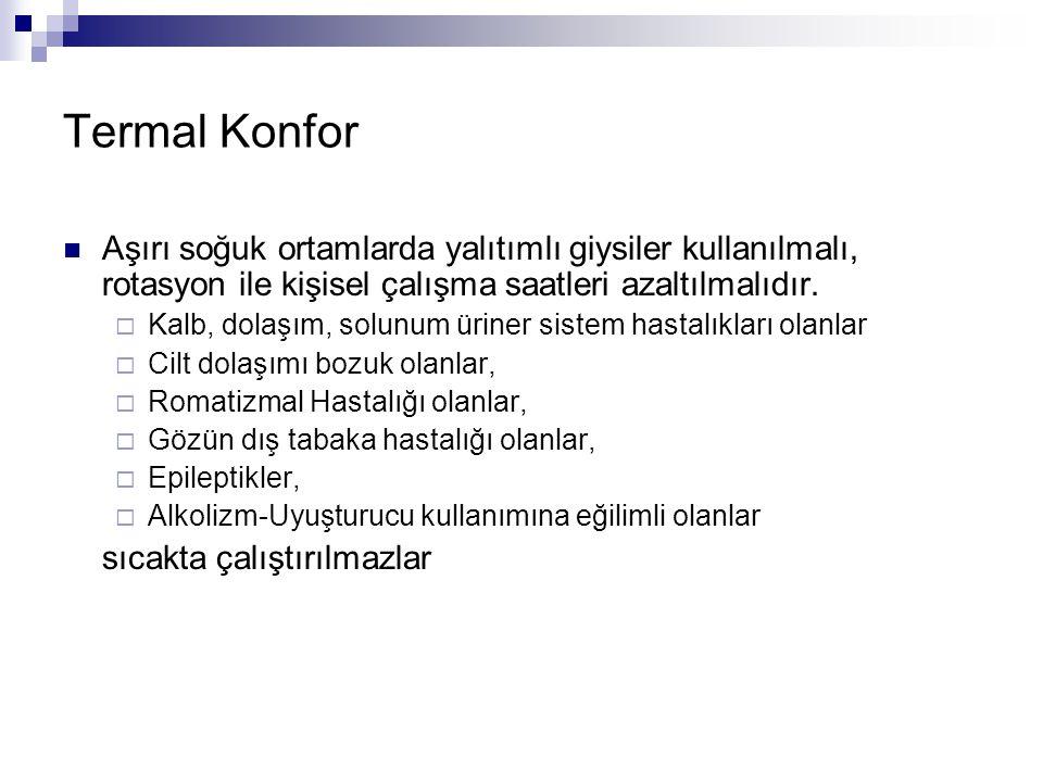 Termal Konfor Aşırı soğuk ortamlarda yalıtımlı giysiler kullanılmalı, rotasyon ile kişisel çalışma saatleri azaltılmalıdır.