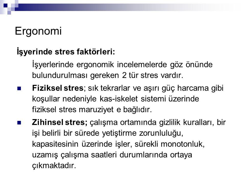 Ergonomi İşyerinde stres faktörleri: İşyerlerinde ergonomik incelemelerde göz önünde bulundurulması gereken 2 tür stres vardır.