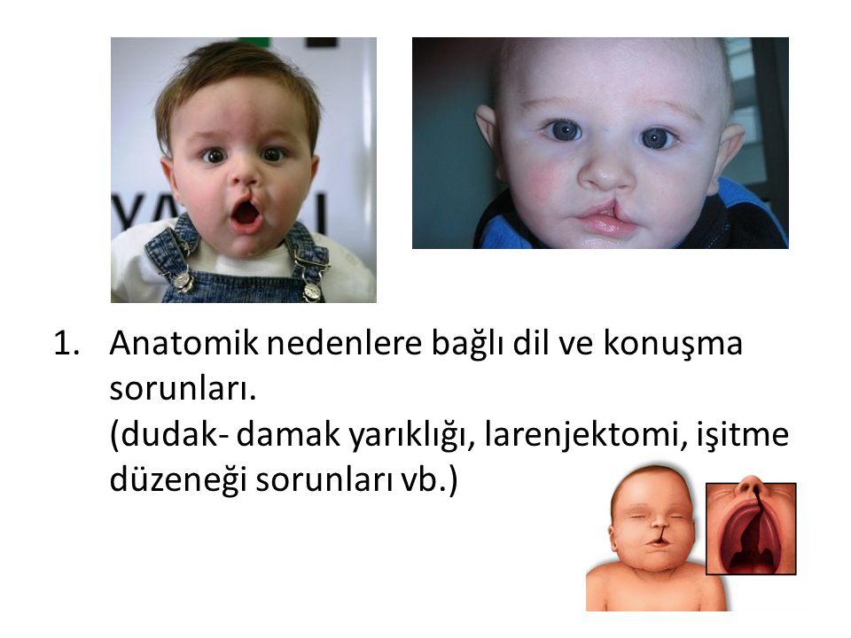 1.Anatomik nedenlere bağlı dil ve konuşma sorunları. (dudak- damak yarıklığı, larenjektomi, işitme düzeneği sorunları vb.)