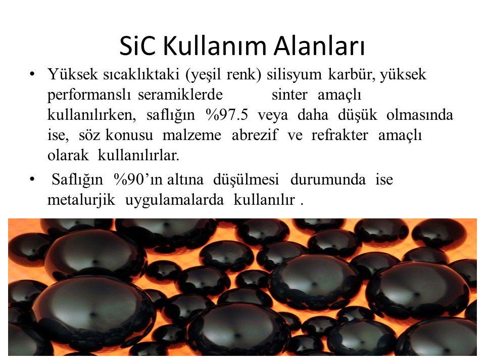 SiC Kullanım Alanları Yüksek sıcaklıktaki (yeşil renk) silisyum karbür, yüksek performanslı seramiklerdesinter amaçlı kullanılırken, saflığın %97.5 veya daha düşük olmasında ise, söz konusu malzeme abrezif ve refrakter amaçlı olarak kullanılırlar.