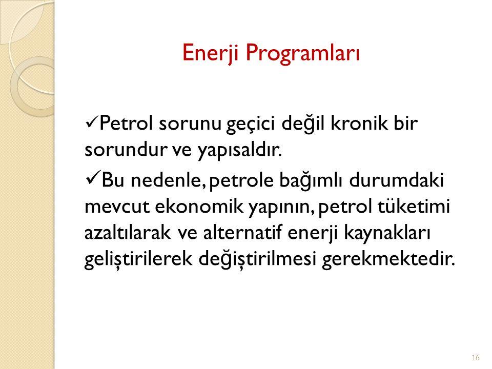 Enerji Programları 16 Petrol sorunu geçici de ğ il kronik bir sorundur ve yapısaldır. Bu nedenle, petrole ba ğ ımlı durumdaki mevcut ekonomik yapının,