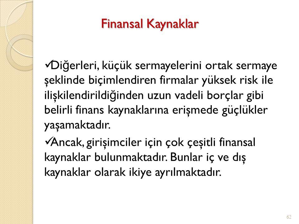 Finansal Kaynaklar 62 Di ğ erleri, küçük sermayelerini ortak sermaye şeklinde biçimlendiren firmalar yüksek risk ile ilişkilendirildi ğ inden uzun vadeli borçlar gibi belirli finans kaynaklarına erişmede güçlükler yaşamaktadır.