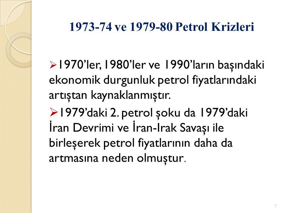 7  1970'ler, 1980'ler ve 1990'ların başındaki ekonomik durgunluk petrol fiyatlarındaki artıştan kaynaklanmıştır.  1979'daki 2. petrol şoku da 1979'd