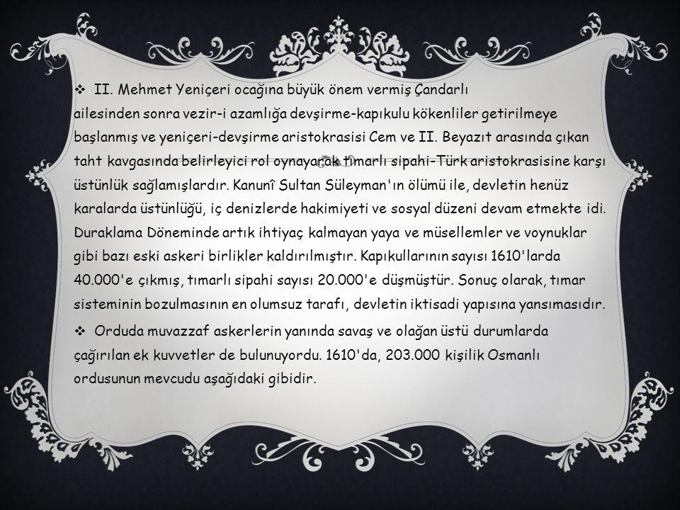  II. Mehmet Yeniçeri ocağına büyük önem vermiş Çandarlı ailesinden sonra vezir-i azamlığa devşirme-kapıkulu kökenliler getirilmeye başlanmış ve yeniç