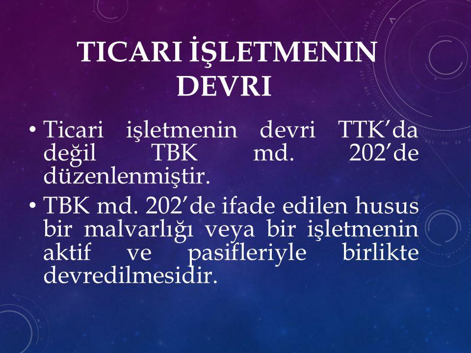 TICARI İŞLETMENIN DEVRI Ticari işletmenin devri TTK'da değil TBK md. 202'de düzenlenmiştir. TBK md. 202'de ifade edilen husus bir malvarlığı veya bir