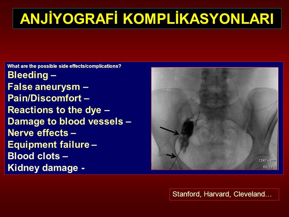 ANJİYOGRAFİ KOMPLİKASYONLARI What are the possible side effects/complications? Bleeding – False aneurysm – Pain/Discomfort – Reactions to the dye – Da