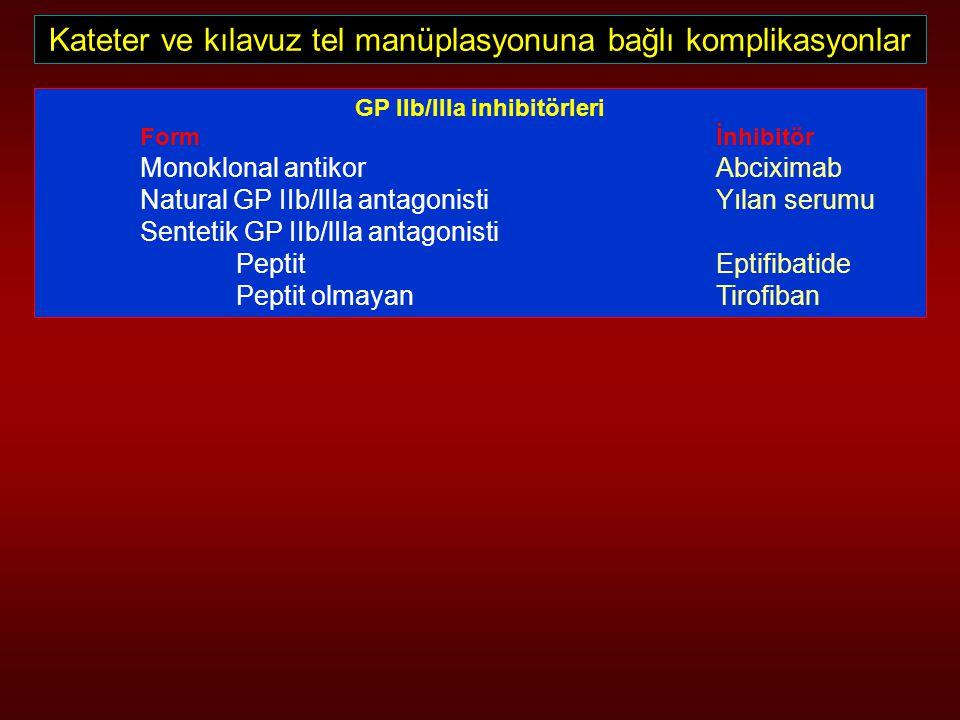 Kateter ve kılavuz tel manüplasyonuna bağlı komplikasyonlar GP IIb/lIla inhibitörleri Form İnhibitör Monoklonal antikor Abciximab Natural GP IIb/lIla
