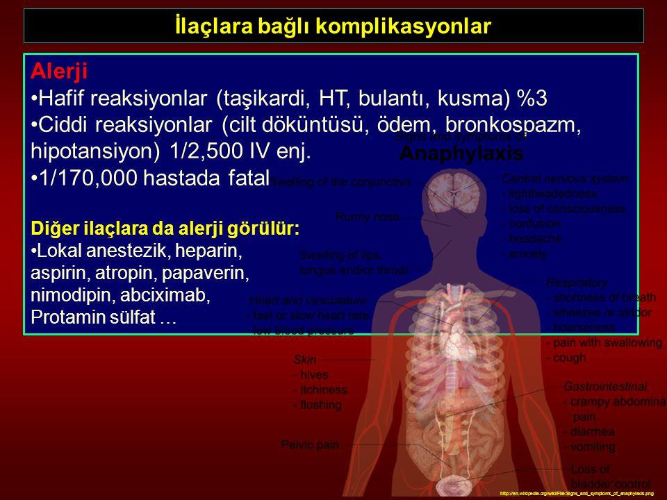 İlaçlara bağlı komplikasyonlar Alerji Hafif reaksiyonlar (taşikardi, HT, bulantı, kusma) %3 Ciddi reaksiyonlar (cilt döküntüsü, ödem, bronkospazm, hip
