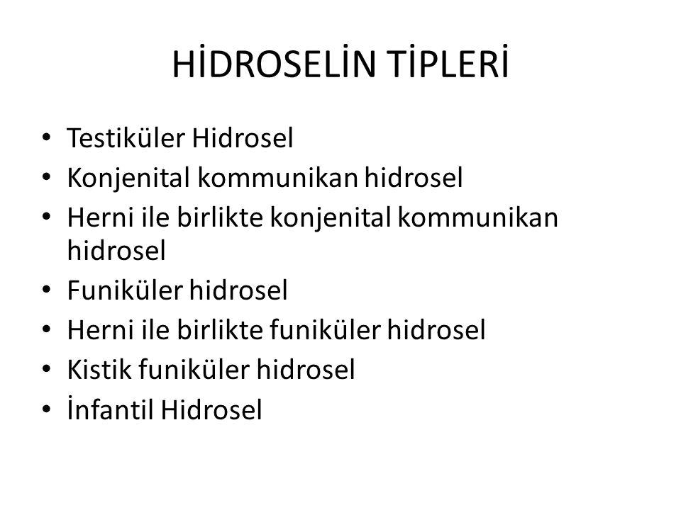 HİDROSELİN TİPLERİ Testiküler Hidrosel Konjenital kommunikan hidrosel Herni ile birlikte konjenital kommunikan hidrosel Funiküler hidrosel Herni ile b