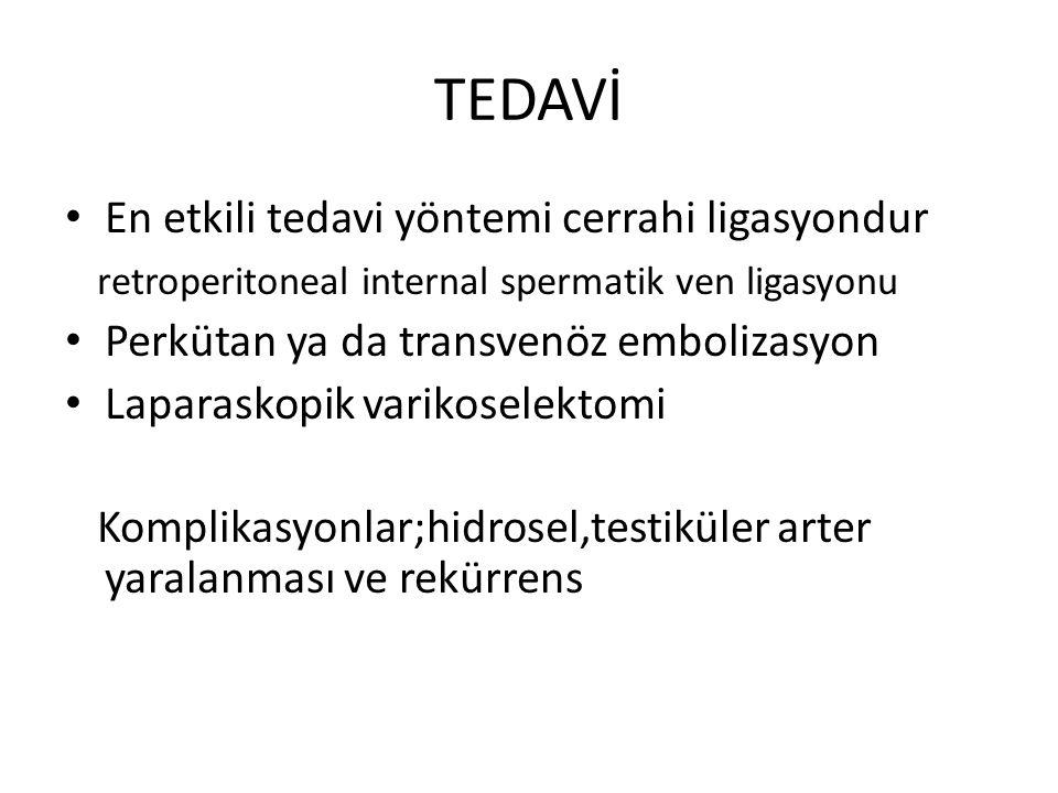 TEDAVİ En etkili tedavi yöntemi cerrahi ligasyondur retroperitoneal internal spermatik ven ligasyonu Perkütan ya da transvenöz embolizasyon Laparaskop
