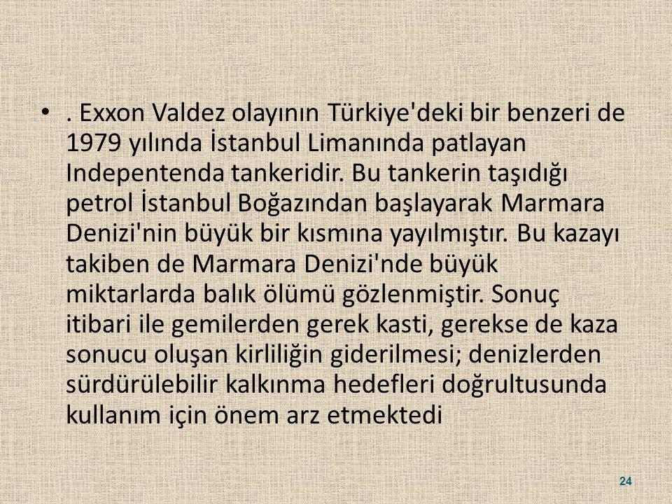 . Exxon Valdez olayının Türkiye'deki bir benzeri de 1979 yılında İstanbul Limanında patlayan Indepentenda tankeridir. Bu tankerin taşıdığı petrol İsta