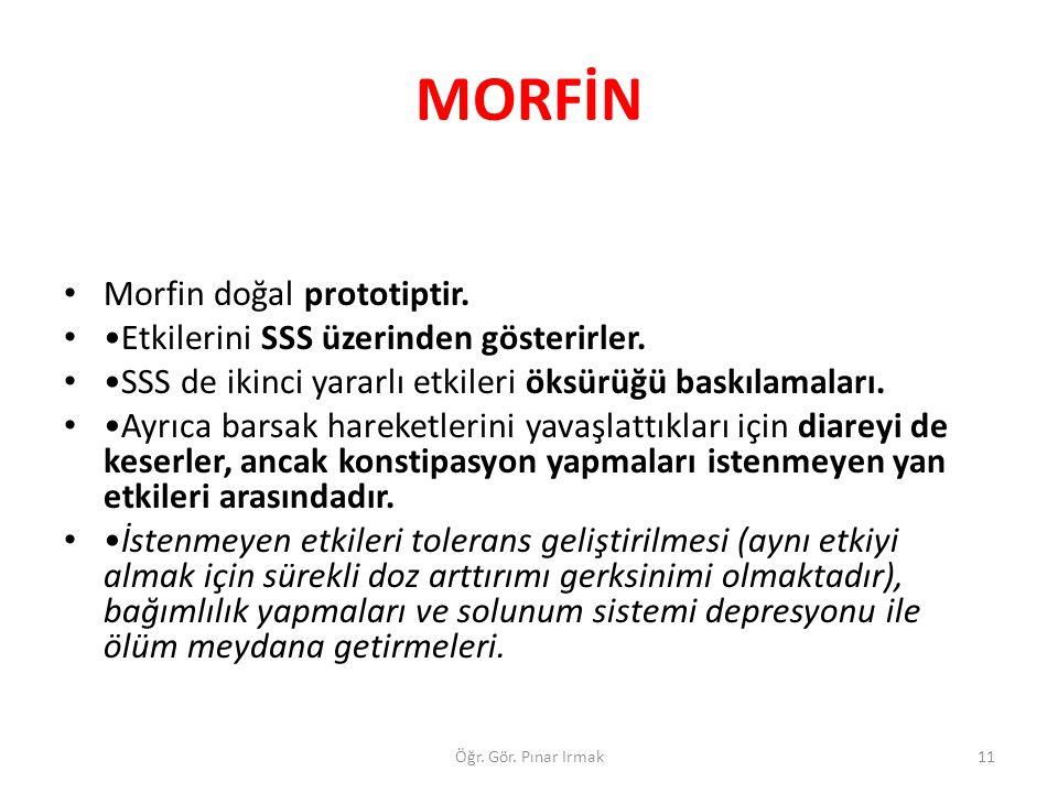 MORFİN Morfin doğal prototiptir. Etkilerini SSS üzerinden gösterirler. SSS de ikinci yararlı etkileri öksürüğü baskılamaları. Ayrıca barsak hareketler
