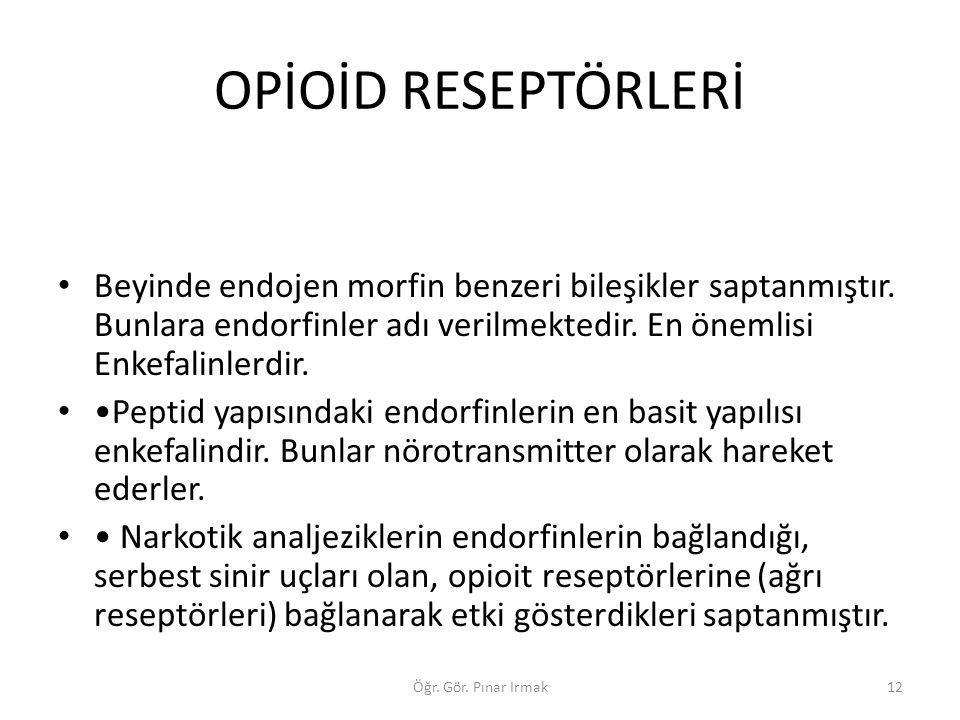 OPİOİD RESEPTÖRLERİ Beyinde endojen morfin benzeri bileşikler saptanmıştır. Bunlara endorfinler adı verilmektedir. En önemlisi Enkefalinlerdir. Peptid