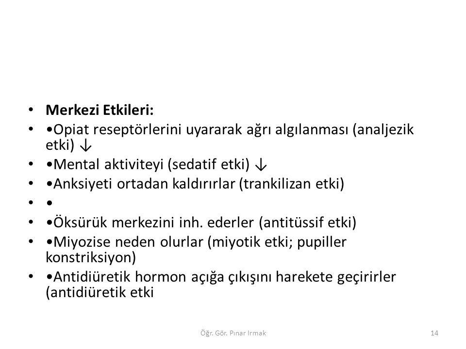 Merkezi Etkileri: Opiat reseptörlerini uyararak ağrı algılanması (analjezik etki) ↓ Mental aktiviteyi (sedatif etki) ↓ Anksiyeti ortadan kaldırırlar (
