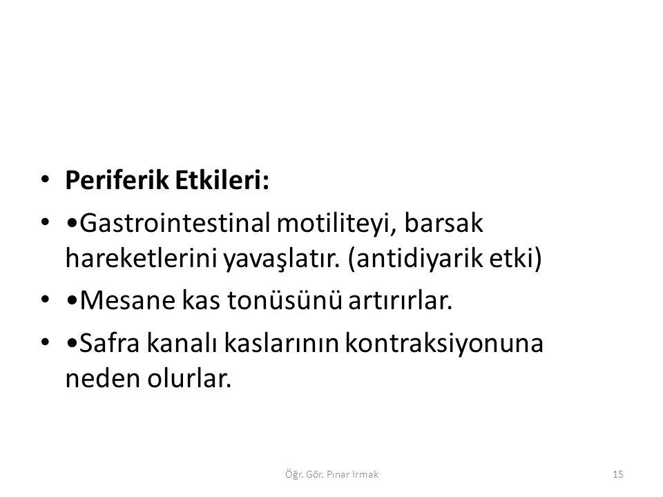 Periferik Etkileri: Gastrointestinal motiliteyi, barsak hareketlerini yavaşlatır. (antidiyarik etki) Mesane kas tonüsünü artırırlar. Safra kanalı kasl