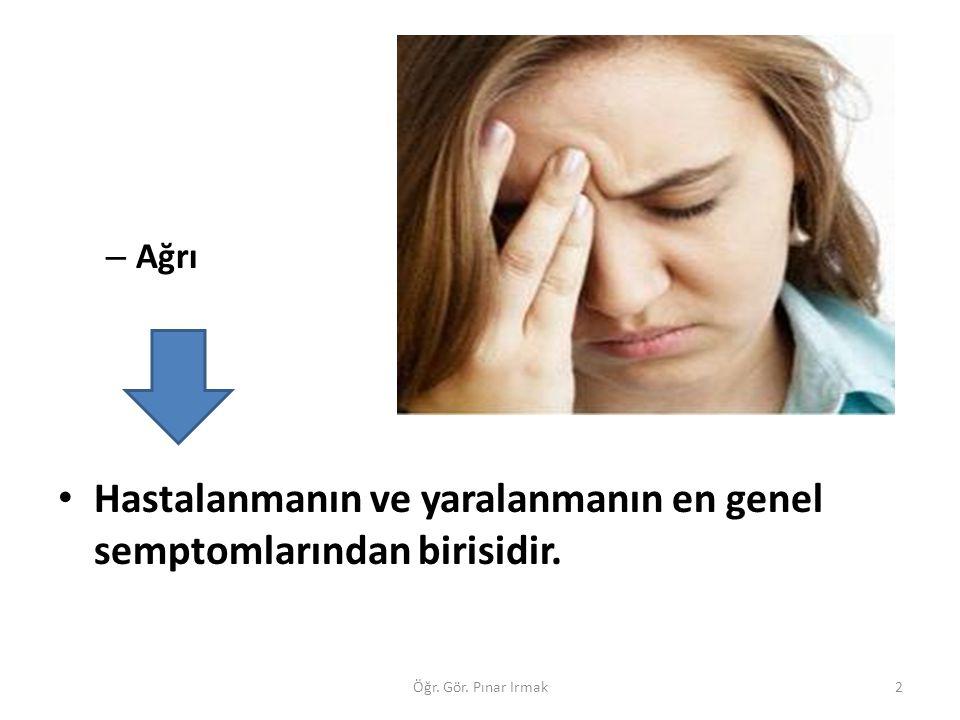 – Ağrı Hastalanmanın ve yaralanmanın en genel semptomlarından birisidir. 2Öğr. Gör. Pınar Irmak