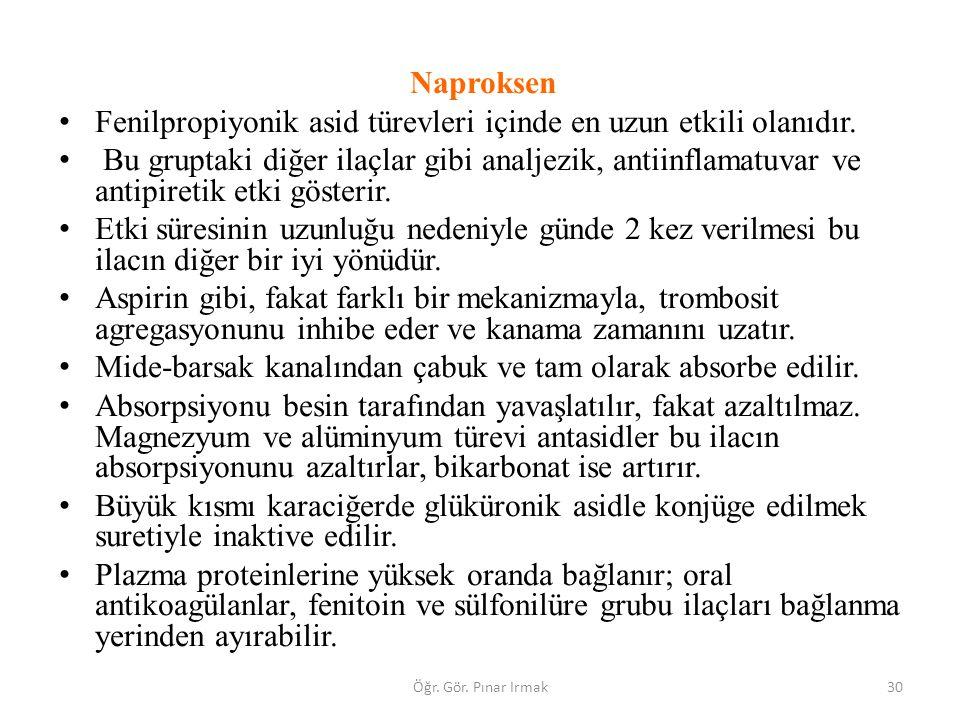 Naproksen Fenilpropiyonik asid türevleri içinde en uzun etkili olanıdır. Bu gruptaki diğer ilaçlar gibi analjezik, antiinflamatuvar ve antipiretik etk
