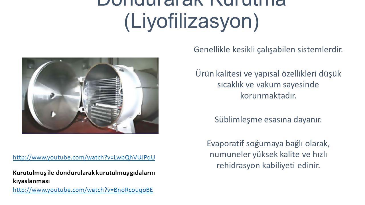 Dondurarak Kurutma (Liyofilizasyon) Genellikle kesikli çalışabilen sistemlerdir. Ürün kalitesi ve yapısal özellikleri düşük sıcaklık ve vakum sayesind