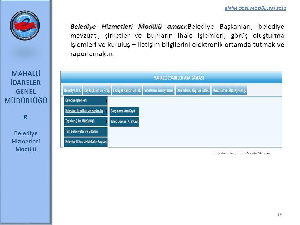 BİRİM ÖZEL MODÜLLERİ 2011 MAHALLİ İDARELER GENEL MÜDÜRLÜĞÜ & Belediye Hizmetleri Modülü 15 Belediye Hizmetleri Modülü amacı Belediye Hizmetleri Modülü