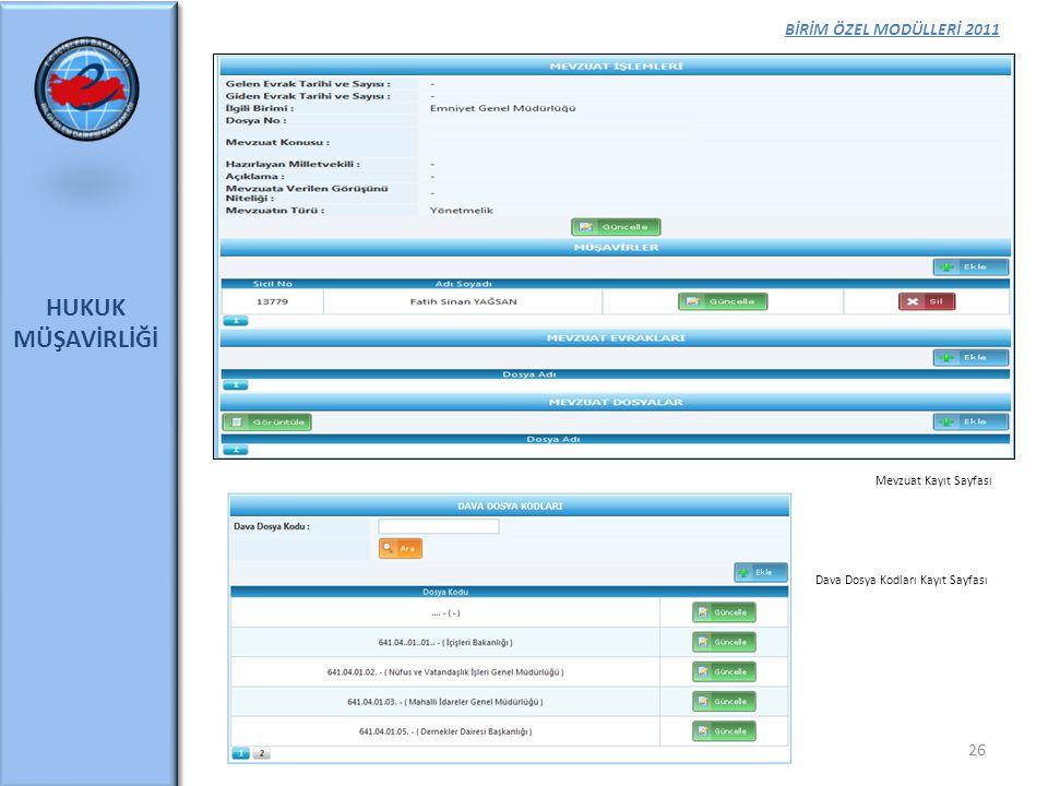 BİRİM ÖZEL MODÜLLERİ 2011 HUKUK MÜŞAVİRLİĞİ 26 Mevzuat Kayıt Sayfası Dava Dosya Kodları Kayıt Sayfası
