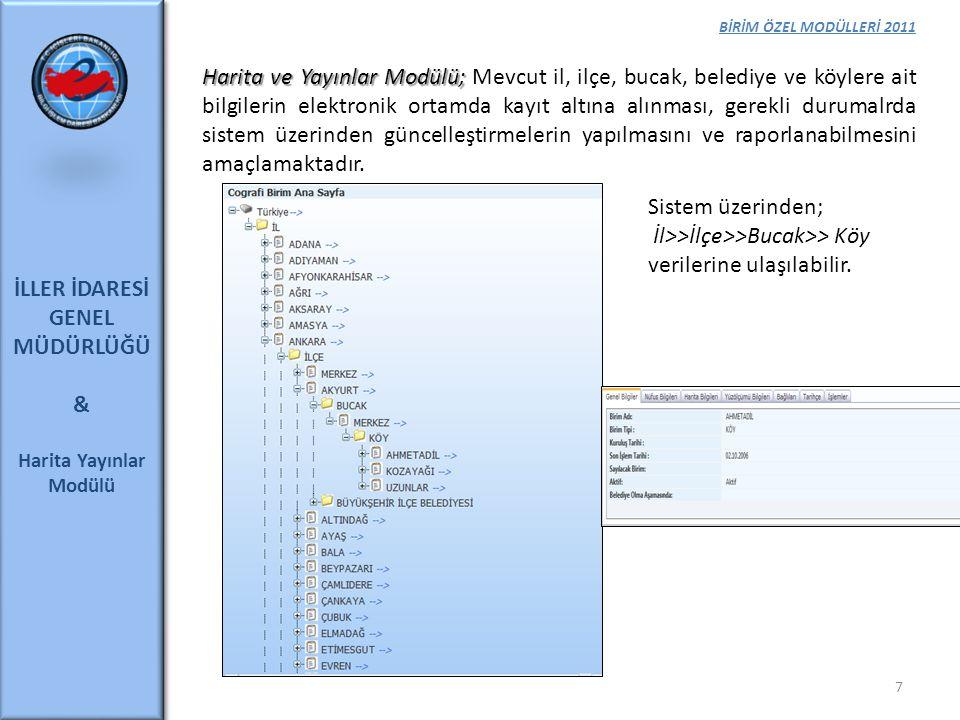 BİRİM ÖZEL MODÜLLERİ 2011 İLLER İDARESİ GENEL MÜDÜRLÜĞÜ & Harita Yayınlar Modülü Harita ve Yayınlar Modülü; Harita ve Yayınlar Modülü; Mevcut il, ilçe