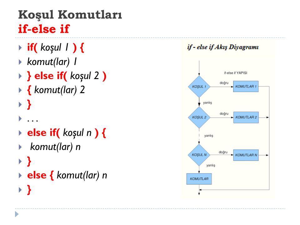 Koşul Komutları if-else if  if( koşul 1 ) {  komut(lar) 1  } else if( koşul 2 )  { komut(lar) 2  } ...  else if( koşul n ) {  komut(lar) n  }