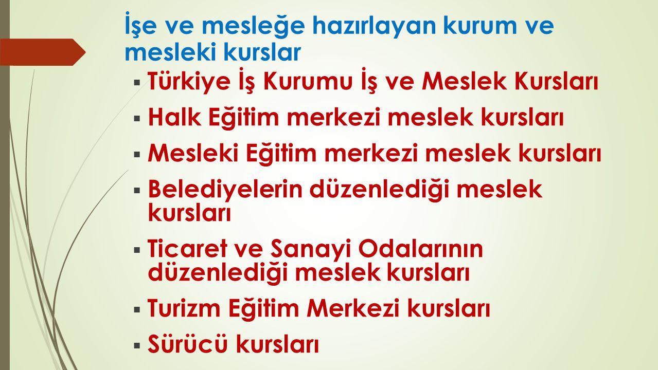 İşe ve mesleğe hazırlayan kurum ve mesleki kurslar  Türkiye İş Kurumu İş ve Meslek Kursları  Halk Eğitim merkezi meslek kursları  Mesleki Eğitim me
