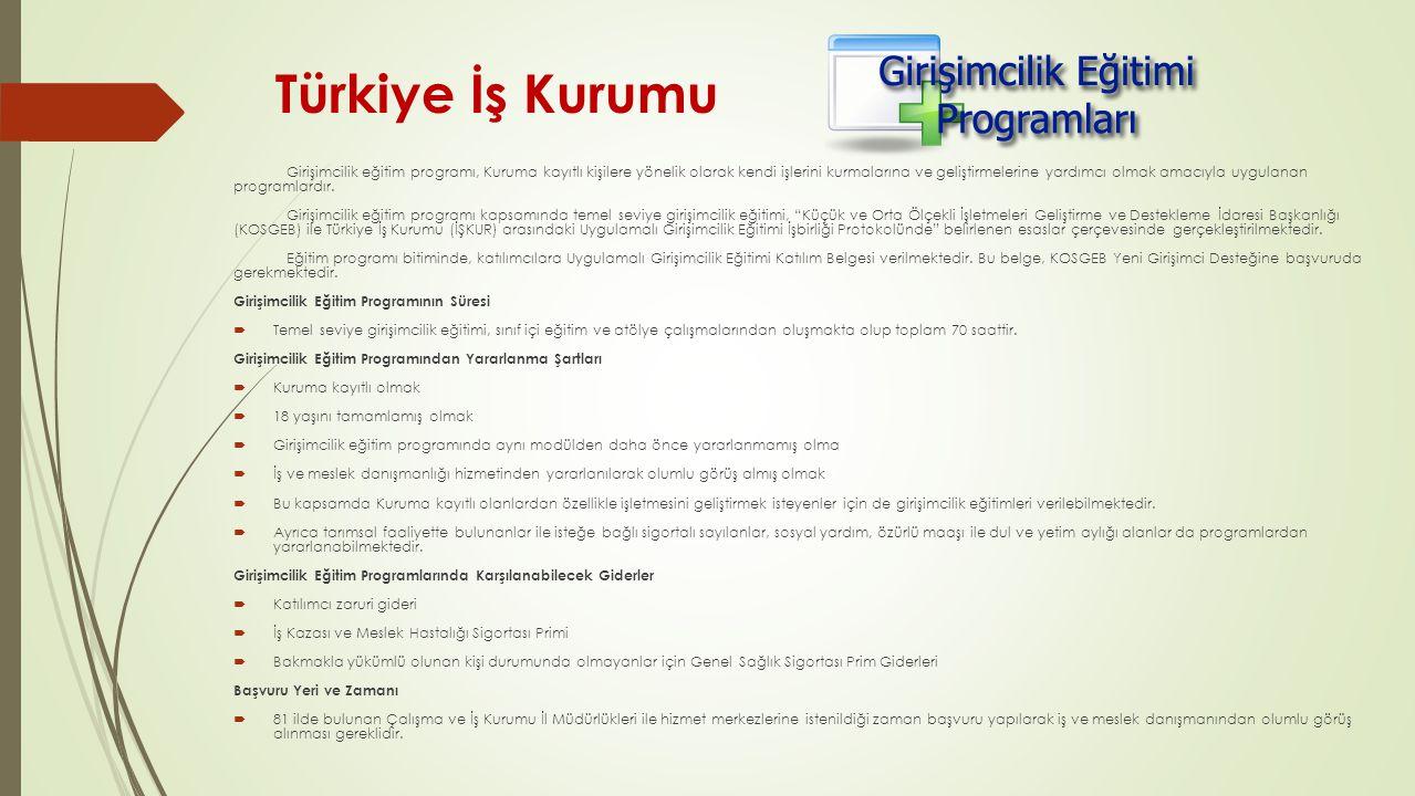 Türkiye İş Kurumu Girişimcilik eğitim programı, Kuruma kayıtlı kişilere yönelik olarak kendi işlerini kurmalarına ve geliştirmelerine yardımcı olmak a