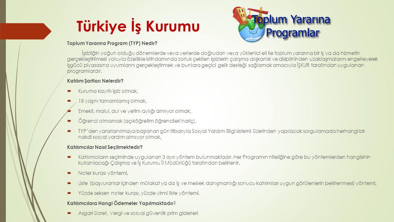 Türkiye İş Kurumu Toplum Yararına Program (TYP) Nedir? İşsizliğin yoğun olduğu dönemlerde veya yerlerde doğrudan veya yüklenici eli ile toplum yararın