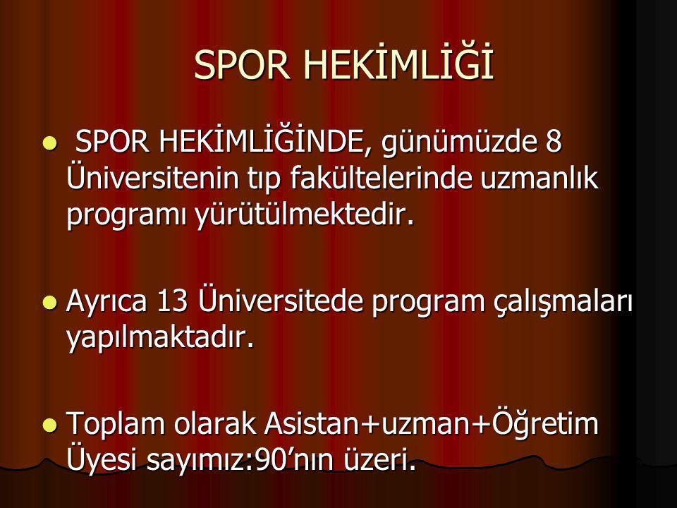 SPOR HEKİMLİĞİ SPOR HEKİMLİĞİ SPOR HEKİMLİĞİNDE, günümüzde 8 Üniversitenin tıp fakültelerinde uzmanlık programı yürütülmektedir. SPOR HEKİMLİĞİNDE, gü