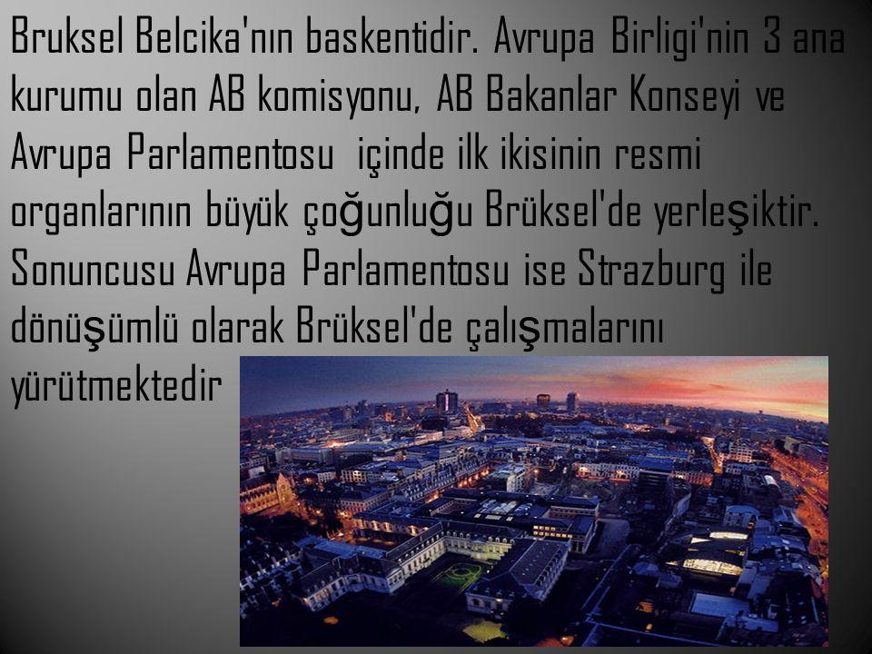 Bruksel Belcika'nın baskentidir. Avrupa Birligi'nin 3 ana kurumu olan AB komisyonu, AB Bakanlar Konseyi ve Avrupa Parlamentosu içinde ilk ikisinin res