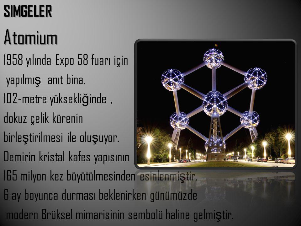 SIMGELERAtomium 1958 yılında Expo 58 fuarı için yapılmı ş anıt bina. 102-metre yüksekli ğ inde, dokuz çelik kürenin birle ş tirilmesi ile olu ş uyor.
